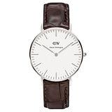DW Daniel Wellington 時尚深咖啡鱷魚紋腕錶-銀框/36mm(0610DW)