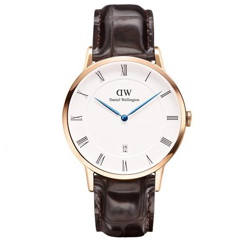 DW Daniel Wellington Dapper深棕鱷魚紋皮革腕錶-金框/38mm(1102DW)