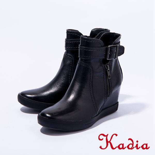 Kadia.側邊單扣帶拉鍊牛皮短靴(黑色)