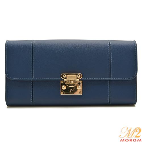 【MOROM】真皮簡約時尚穿釦長夾(藍色)1008