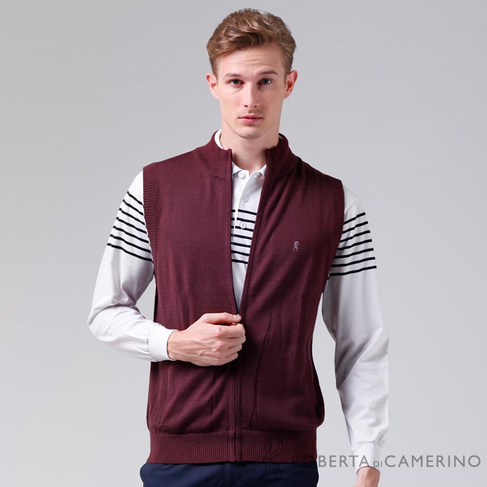 ROBERTA諾貝達 台灣製 拉鍊式 輕便穿搭保暖羊毛背心 深紅