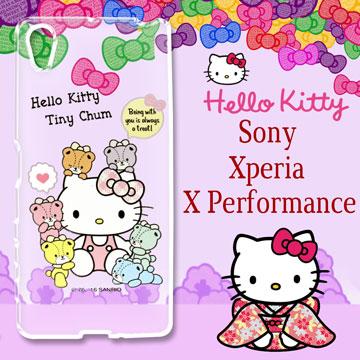 三麗鷗授權 Hello Kitty 凱蒂貓 SONY Xperia X Performance / PP10  浮雕彩繪透明手機殼(熊好朋友)