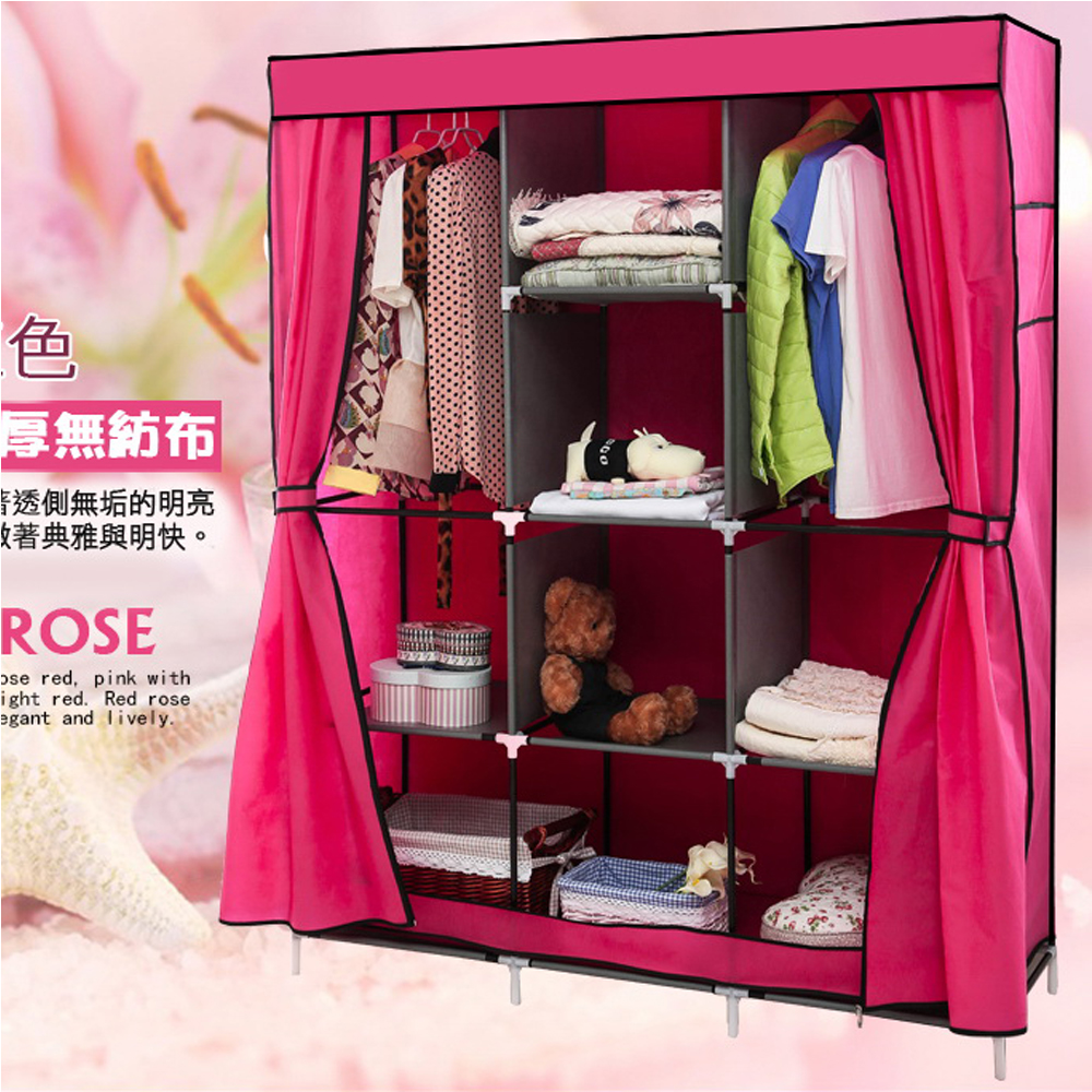 超大加寬雙門三排組合式DIY防塵衣櫃 衣櫥138x175x45cm(粉紅色)