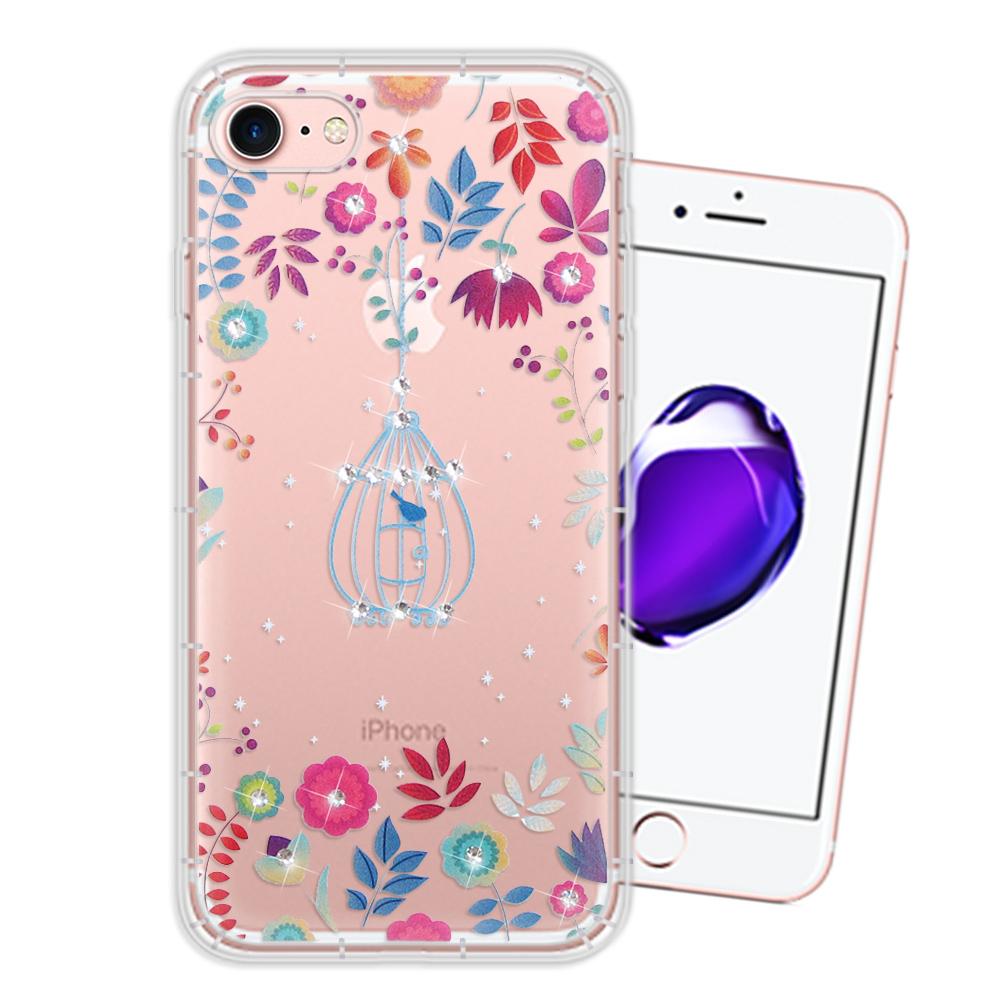 iPhone 8/iPhone 7 奧地利水晶彩繪空壓手機殼(鳥羽花萃)