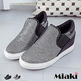 【Miaki】休閒鞋韓皮革璀璨拼接內增高平底懶人包鞋 (銀色 / 黑色)