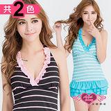 【天使霓裳】泳衣 夏日休閒 兩件式條紋泳裝(黑/綠F)
