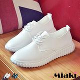 【Miaki】休閒鞋韓妞復古皮質綁帶平底包鞋 (白色 / 黑色)