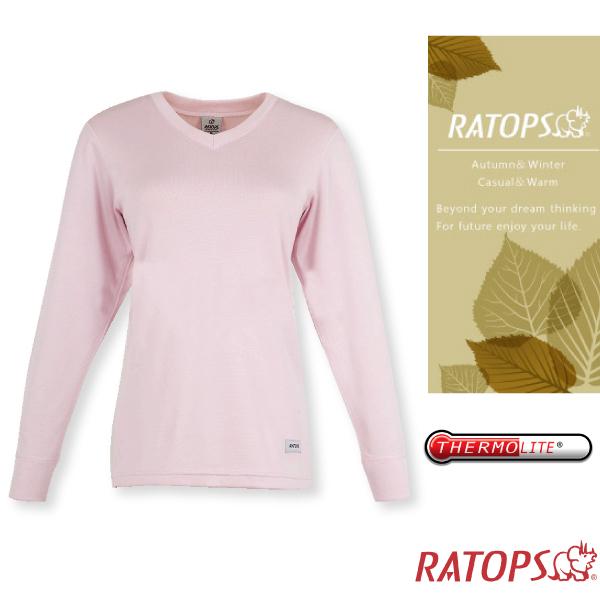【瑞多仕-RATOPS】女款 Thermolite 保暖V領內衣.衛生衣_DB5086 淺粉紅