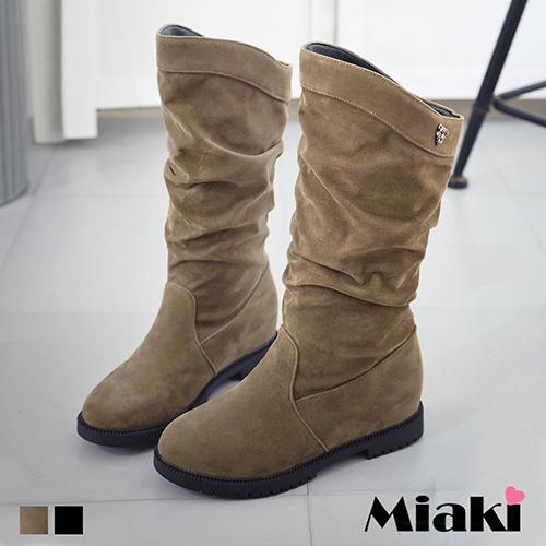 ~Miaki~長靴 簡約抓皺絨質低跟包鞋  卡其色  黑色