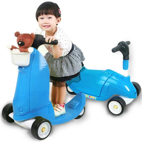 寶貝樂精選 伴你行滑板車加學步車-藍色