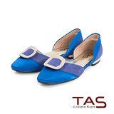 TAS 金屬水鑽方型飾釦側鏤空低跟鞋-摩登藍
