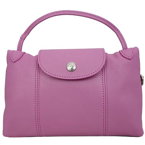 Longchamp Le Pliage Cuir 小羊皮迷你斜背包/郵差包(粉紅色)