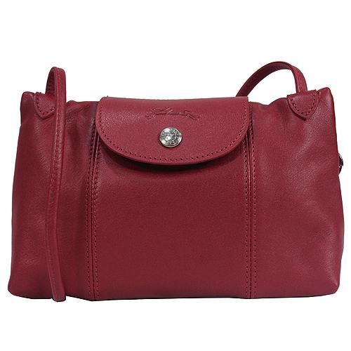 Longchamp Le Pliage Cuir 小羊皮迷你斜背包/郵差包(紅色)