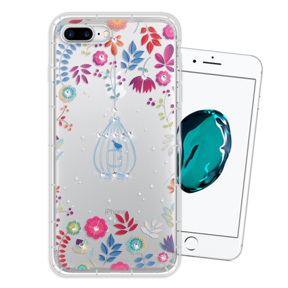 iPhone 8 Plus/iPhone 7 Plus 奧地利水晶彩繪空壓手機殼(鳥羽花萃)