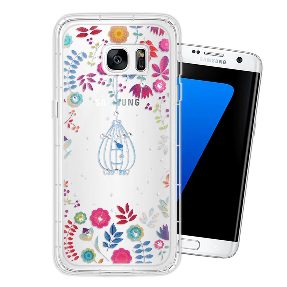 三星 Samsung Galaxy S7 edge 奧地利水晶彩繪空壓手機殼(鳥羽花萃)