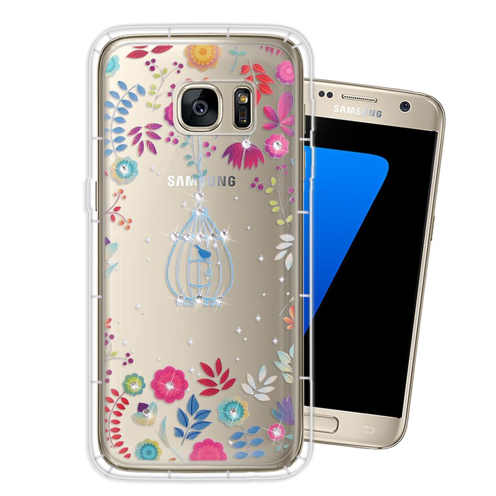 三星 Samsung Galaxy S7 奧地利水晶彩繪空壓手機殼(鳥羽花萃)