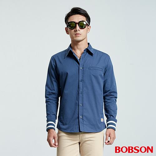BOBSON 男款襯衫式薄藍色外套 35004~52