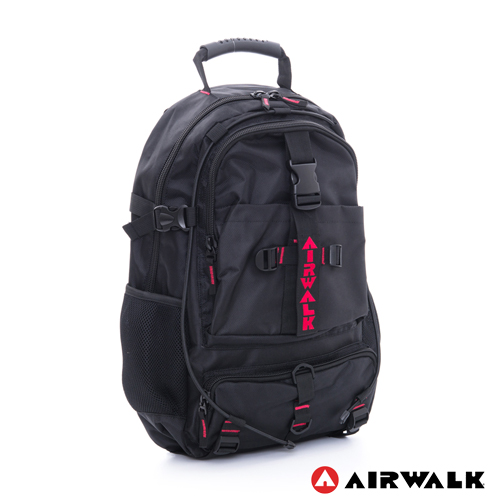 AIRWALK  -都市拳擊手 蛋型多功能調節式運動筆電後背包 - 紅帶黑