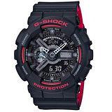 【CASIO 卡西歐】G-SHOCK強悍風格時尚運動腕錶(51.2mm/GA-110HR-1A)