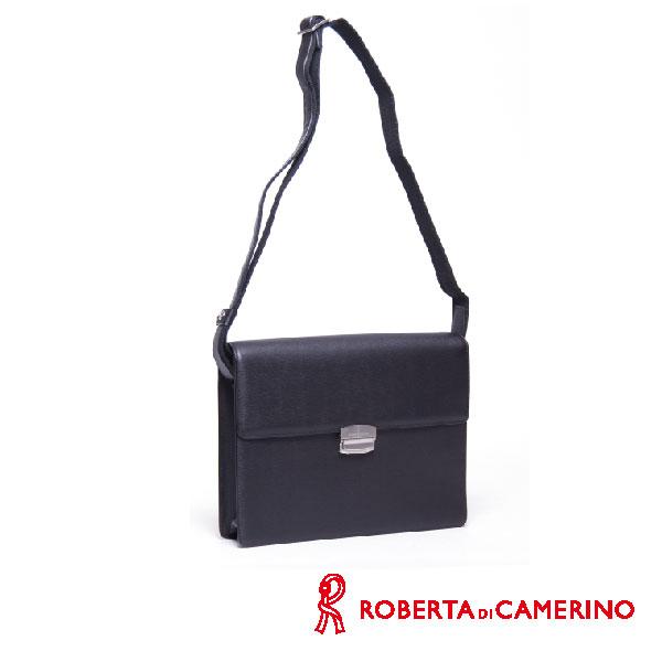 Roberta di Camerino 全皮橫式側背包 - 深咖啡色 - 號碼鎖設計