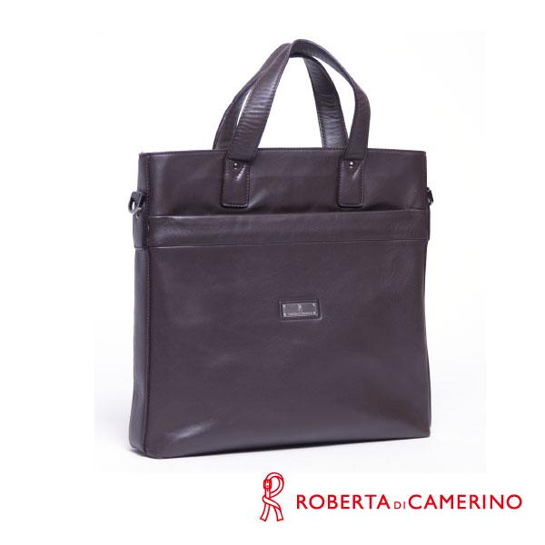 Roberta di Camerino 全皮手提/側背兩用公事包 - 咖啡色