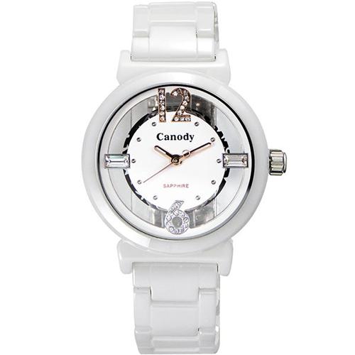 Canody 浮雕晶鑽 雙鏤空陶瓷腕錶-白x玫瑰金針/ 35mm/ CB1218-3B