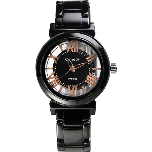 Canody 浮雕時尚雙鏤空羅馬陶瓷腕錶-黑x玫瑰金針/ 35mm/ CB1220-3A