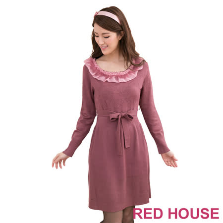 RED HOUSE-蕾赫斯-毛領玫瑰針織洋裝(無腰帶-紫色)