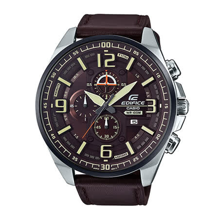 CASIO手錶專賣店 CASIO EDIFICE  EFR-555BL-5A   防水 三眼皮革錶帶 男錶 全新品