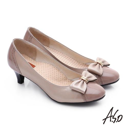 A.S.O 舒活寬楦 真皮氣質蝴蝶結飾奈米中跟鞋(膚)