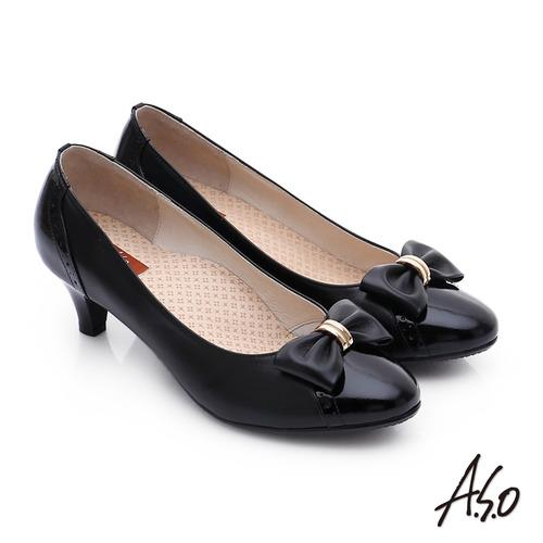 A.S.O 舒活寬楦 真皮氣質蝴蝶結飾奈米中跟鞋(黑)