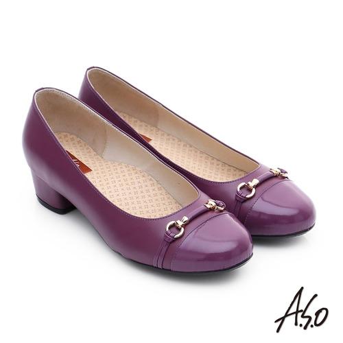 A.S.O 3E舒活寬楦 全牛皮飾帶窩心奈米低跟鞋(紫紅)