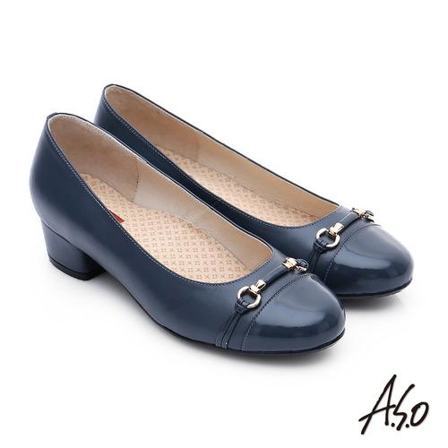 A.S.O 3E舒活寬楦 全牛皮飾帶窩心奈米低跟鞋(深藍)