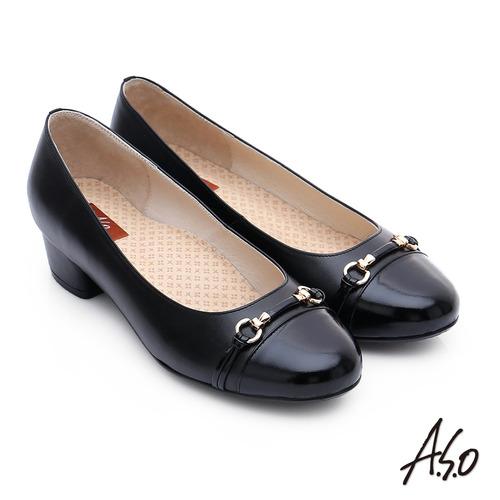 A.S.O 3E舒活寬楦 全牛皮飾帶窩心奈米低跟鞋(黑)