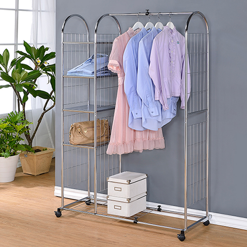 【KOTAS】組裝DIY/拱型伸縮四層鐵板吊衣架/收納架/衣物收納架