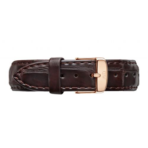 DW Daniel Wellington 深棕色鱷魚壓花皮革錶帶/18mm(0710DW)