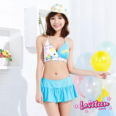 夏之戀LOVETEEN 甜美風點點印花比基尼二件式連褲裙