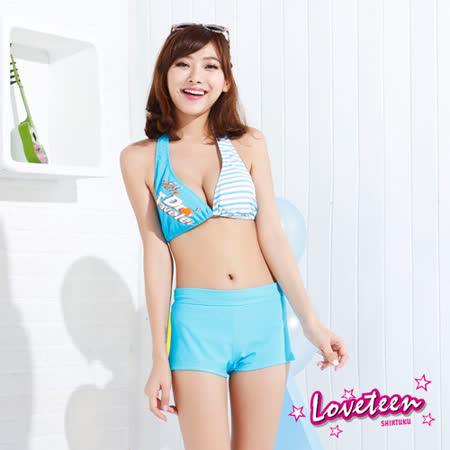 夏之戀LOVETEEN 條紋數字比基尼三件式泳衣