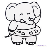 【愛玩色創意館】兒童無毒彩繪玻璃貼- 小張圖卡 - 大象 ipcpS08 -台灣製
