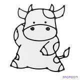 【愛玩色創意館】兒童無毒彩繪玻璃貼- 小張圖卡 - 小牛 ipcpS07 -台灣製
