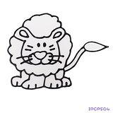 【愛玩色創意館】兒童無毒彩繪玻璃貼- 小張圖卡 - 獅子 ipcpS04 -台灣製