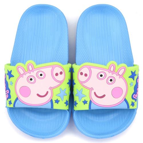 童鞋城堡-粉紅豬小妹 喬治弟弟 中童 超輕量造型款拖鞋PG0019-藍