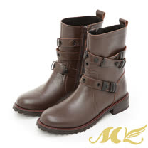 【MK】台灣真皮系列-交叉扣帶軍靴-卡其色