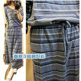 【韓系女衫】現貨M-薄綿料長袖圓領 拉鏈淺藍條紋款連衣長袖