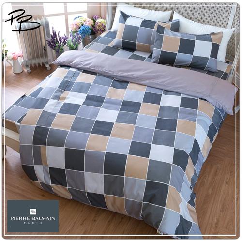 【PB皮爾帕門】環保咖啡紗雙人被套床包四件組-幾何方格