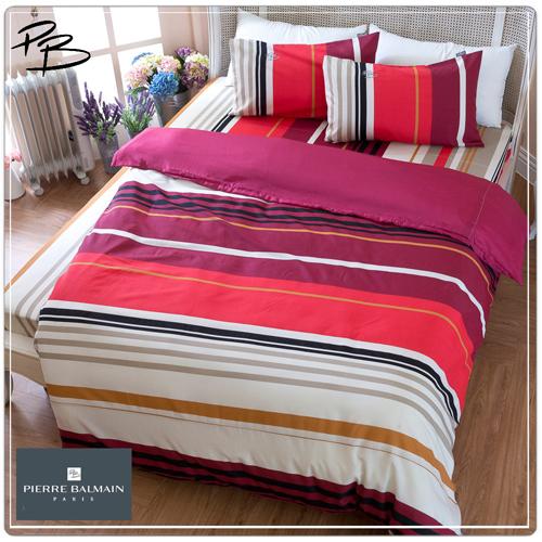 【PB皮爾帕門】環保咖啡紗雙人被套床包四件組-紅條風格