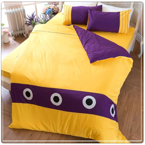 【eyah宜雅】立體刺繡拼貼雙人被套床包四件組-幾何圈圈-黃