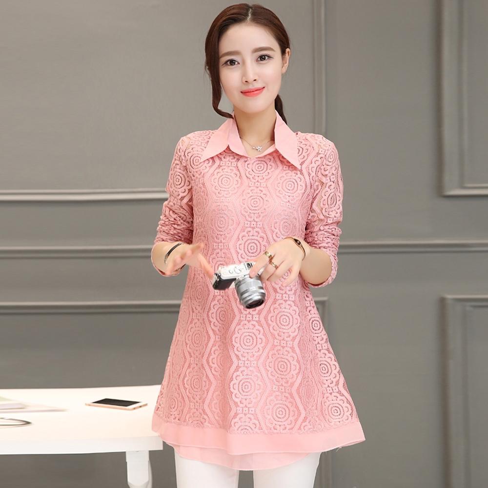 【預購MY-CHIC】韓系中大碼都會翻領花形蕾絲長袖長版衫兩件套組9608