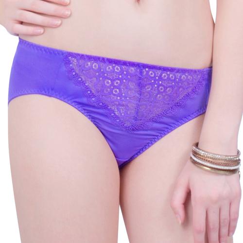【思薇爾】妦吻系列M-XXL蕾絲中腰三角褲(富貴紫)