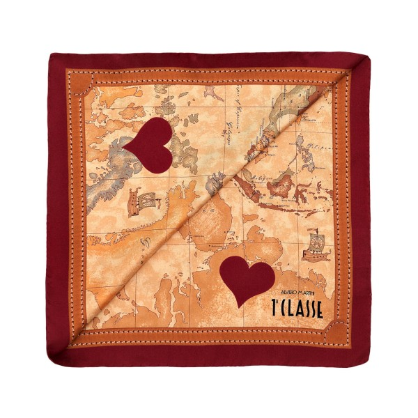 Alviero Martini 義大利地圖包 經典地圖愛心絲巾(90X90)-暗紅/地圖黃